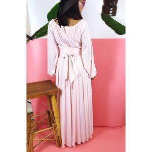 Vintage Dresses - Vtg 70s Pale Pink Boho Maxi Dress SM